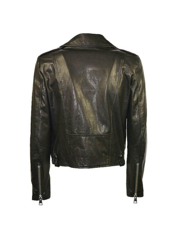 Куртка Imperial кожаная с косым замком и с металлическими заклепками