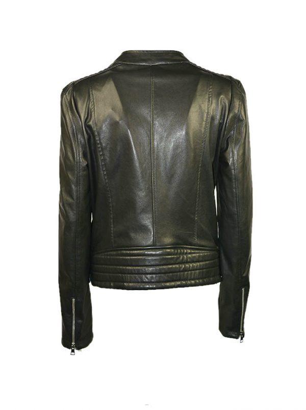 Куртка Imperial кожаная черная с косым замком и с ремешками по бокам