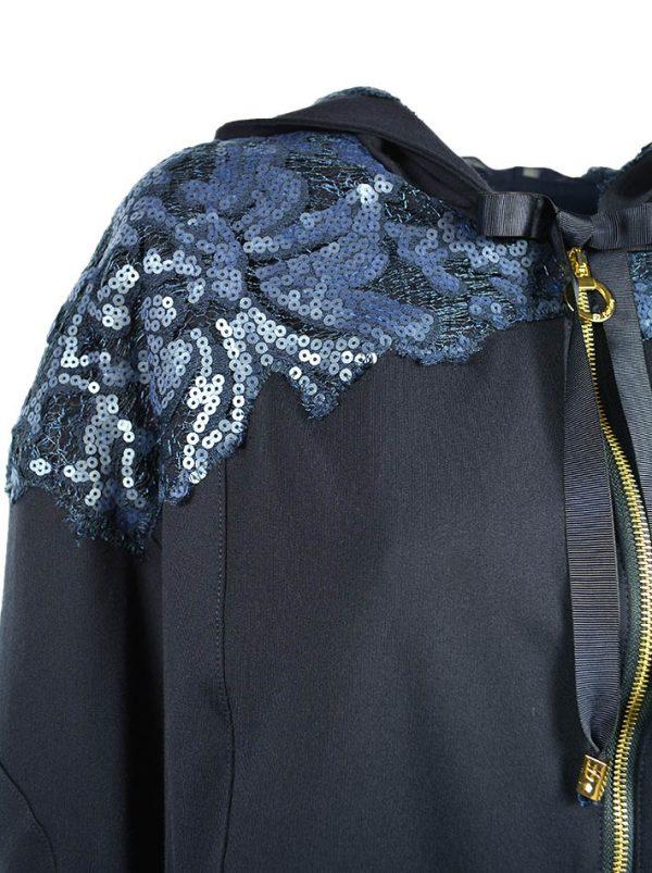 Мастерка Maria Grazia Severi (Darling) темно-синяя комбинированная гипюром с пайетками