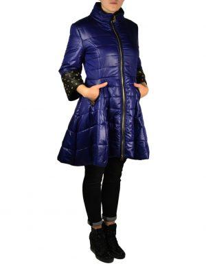 Пальто-пуховик Roberta Biagi синее стеганое на рукавах отделка экокожа с люверсами