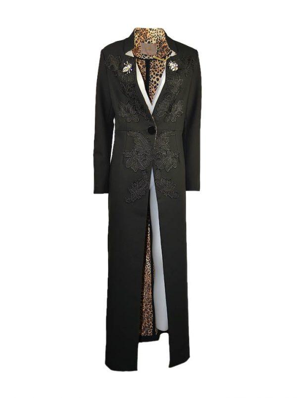 Пальто Babylon длинное в пол на одной пуговице с кружевом