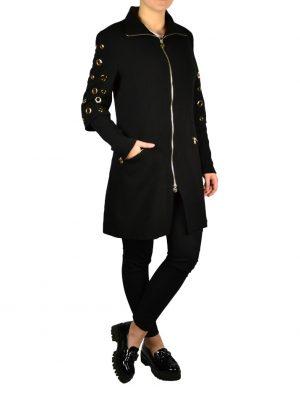 Пальто Roberta Biagi черное с люверсами на рукавах