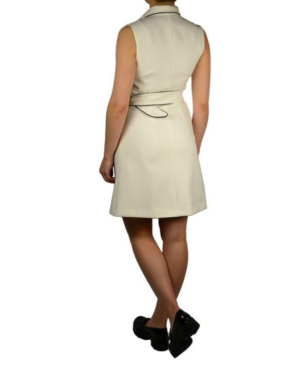 Платье-жилет W Les Femmes без рукавов на черных кожаных пуговицах