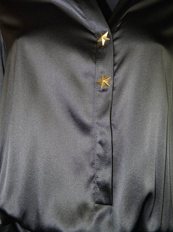 Платье Babylon шелковое с золотыми звездами на груди и плечах