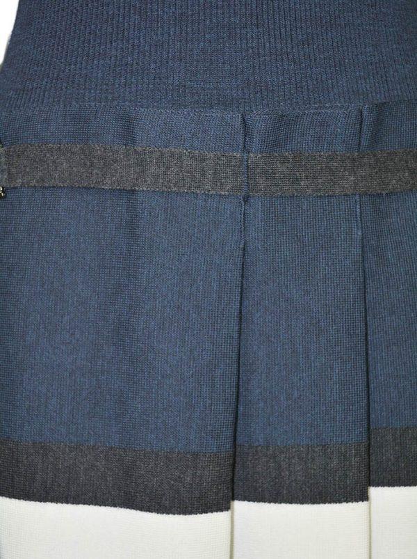 Платье D. Exterior синее отрезное с серым поясом