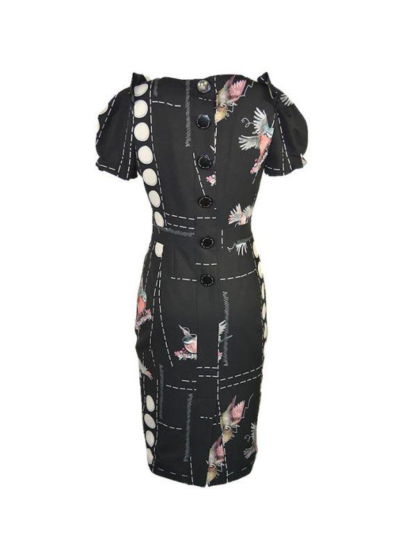 Платье Eureka черное с принтом и пуговицами по спине