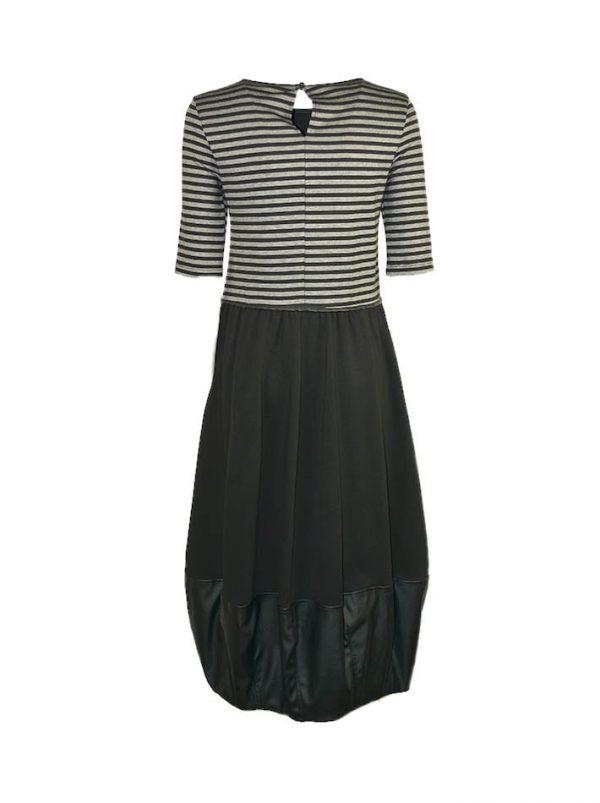 Платье Imperial длинное в черно-серую полоску