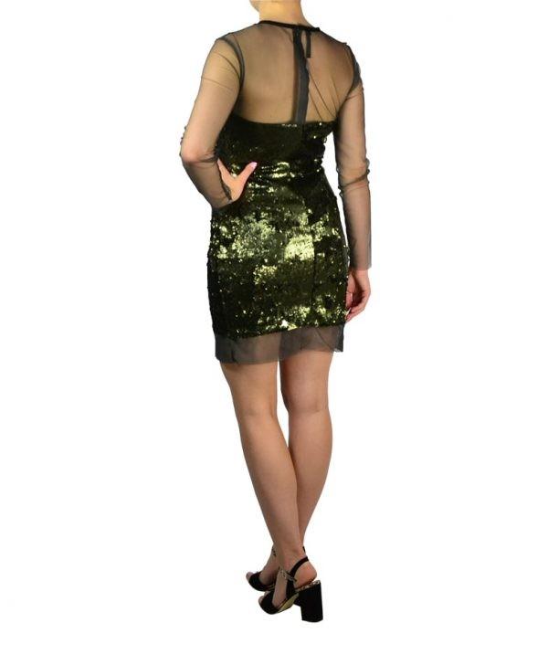 Платье Imperial сеткой с длинными рукавами и пайетками