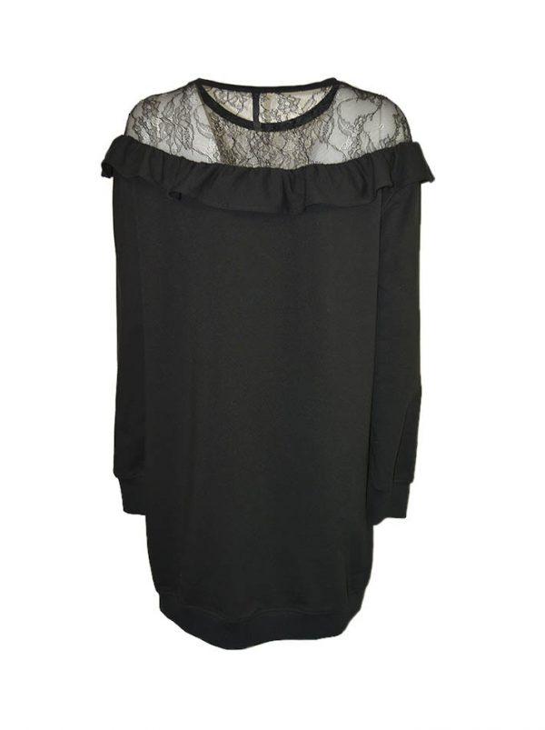 Платье Imperial черное сверху с гипюром и воланом
