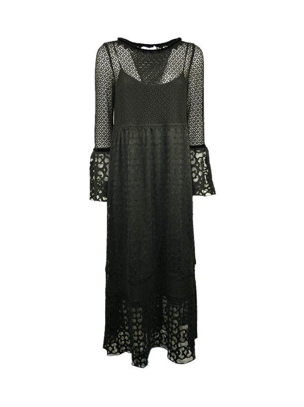 Платье Maria Grazia Severi черное кружевное по линии выреза и рукава велюровая вставка