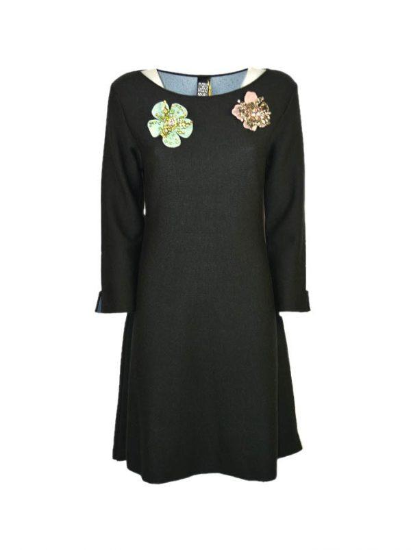 Платье Maria Grazia Severi черное на груди броши в виде цветка
