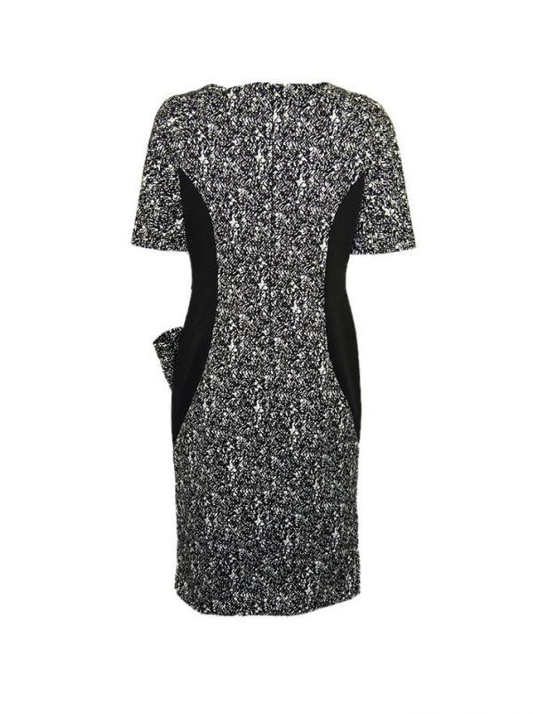 Платье Maria Grazia Severi черно-белое по линии выреза камни