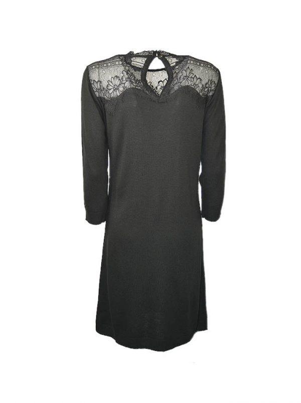 Платье Suerte черное шерстяное верх отделка гипюр