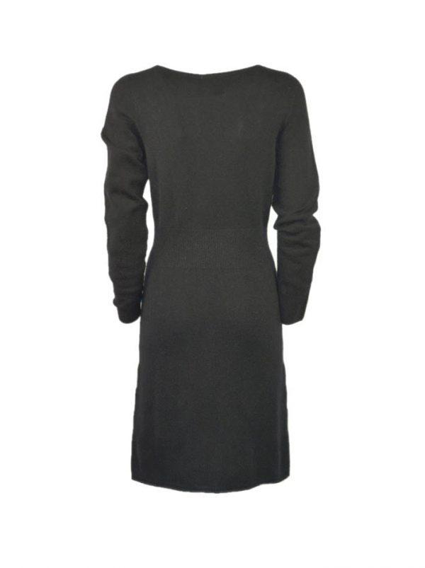 Платье Suerte черное шерстяное с плетением