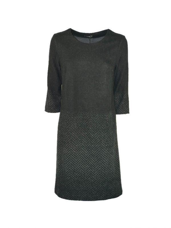 Платье Suerte черное шерстяное с рисунком ёлочка