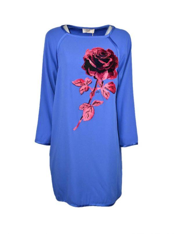 Платье VDP голубое с вышивкой розой с камнями