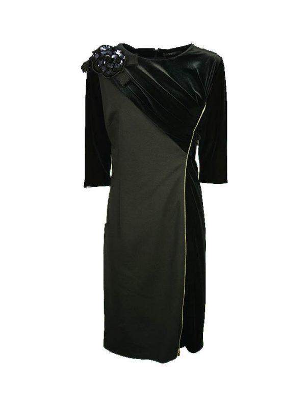 Платье VDP трикотажное комбинированное бархатом с брошью-вышивкой с пайетками