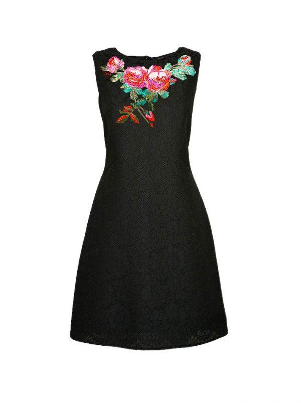 Платье VDP черное комбинированное гипюром на груди вышивка с камнями