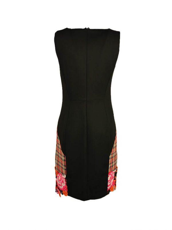 Платье VDP черное комбинированное по линии низа шерстяное кружево с камнями
