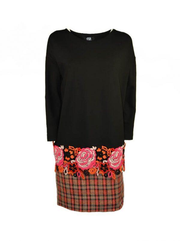 Платье VDP черное комбинированное с шерстяным кружевом и камнями