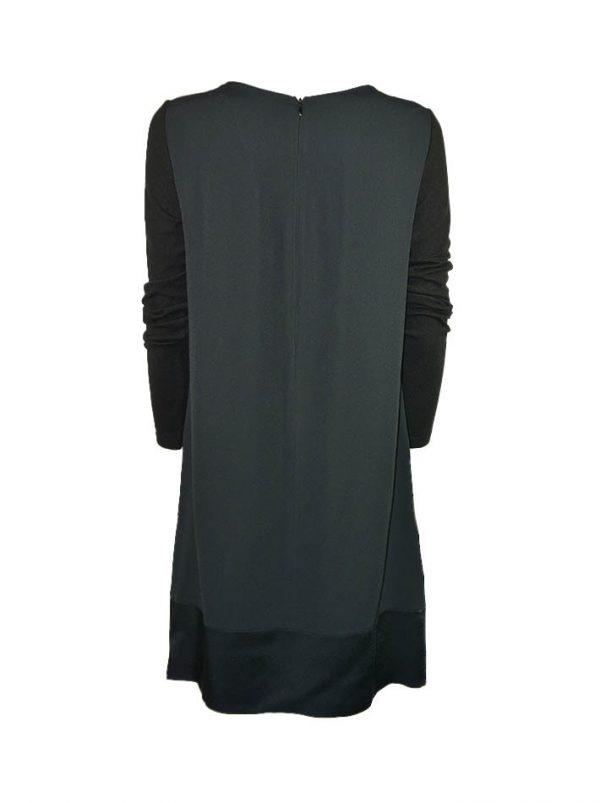 Платье VDP черное с трикотажными рукавами спереди вставки декоративные молнии