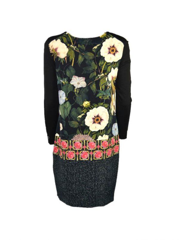 Платье VDP черное с цветочным принтом и камнями длинный рукав