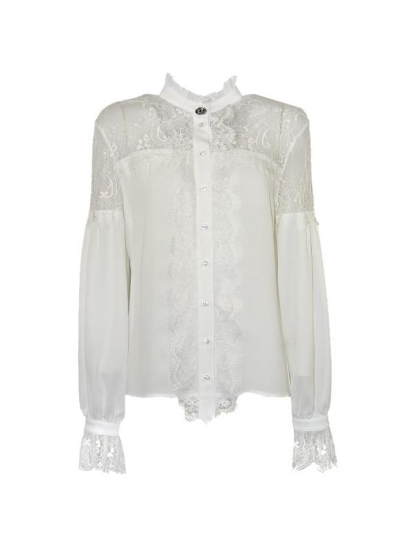 Рубашка Eureka белая шелковая с манжетами
