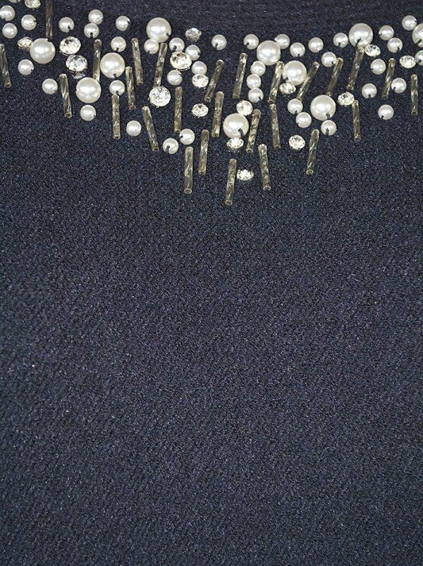 Свитер Roberta Biagi черный вязаный по линии выреза жемчуг с камнями и бисером