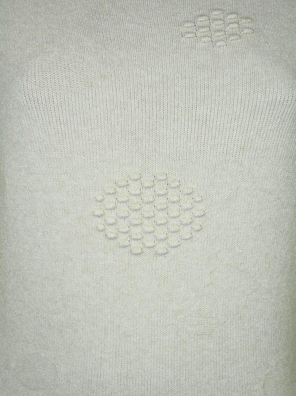 Свитер Suerte бежевый шерстяной с объемным рисунком