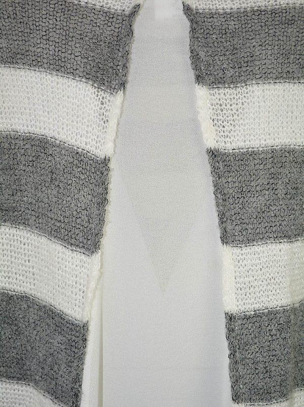 Свитер Suerte в серо-белую полоску с шелковой вставкой на спине