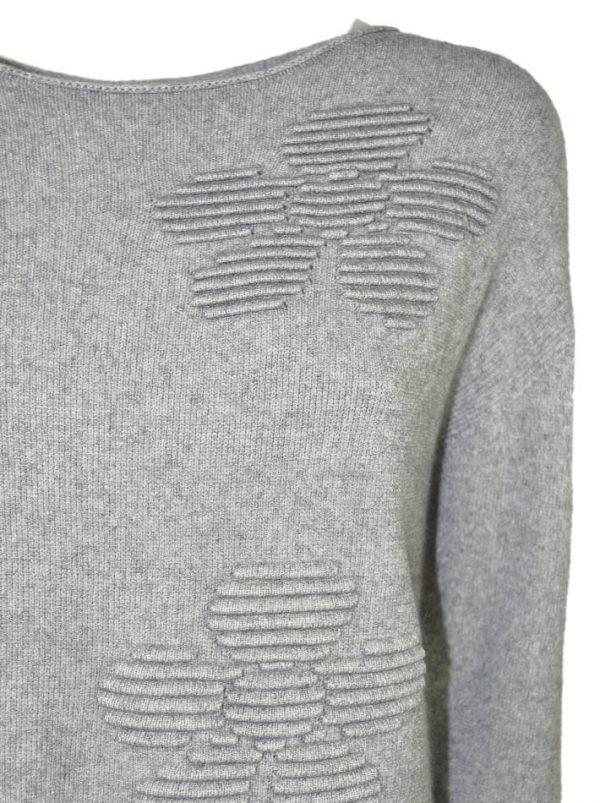 Свитер Suerte серый шерстяной с объемным рисунком и необработанными краями