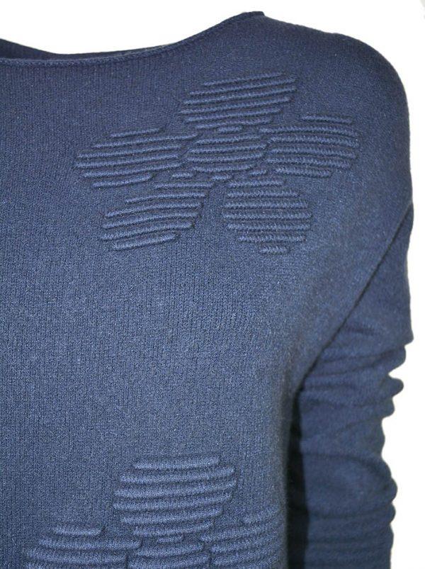 Свитер Suerte синий шерстяной с объемным рисунком и необработанными краями