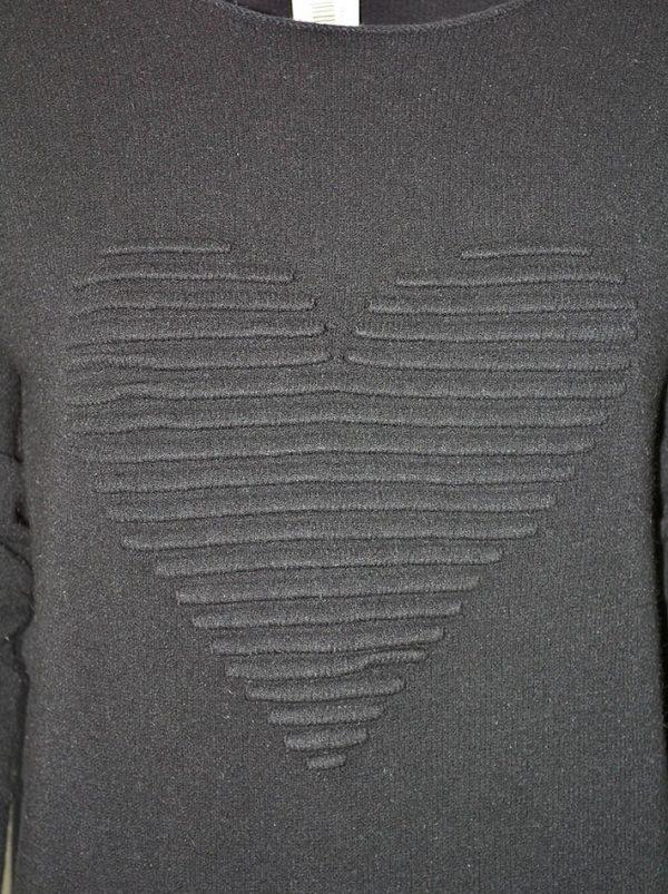 Свитер Suerte черный с асимметричным низом и объемным рисунком