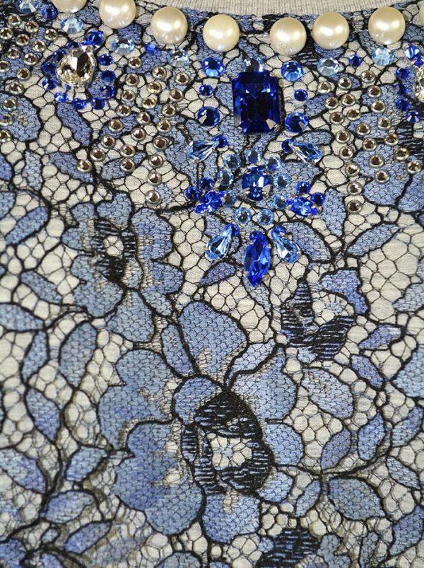 Костюм VDP серый с синим гипюром