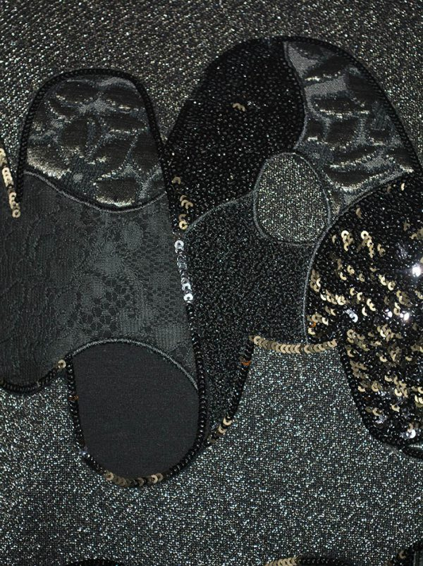 Толстовка VDP черная с люрексом и надписью-вышивкой с пайетками