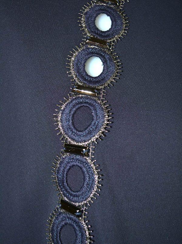 Туника Maria Grazia Severi (Darling) темно-синяя впереди вставка вышивка с камнями