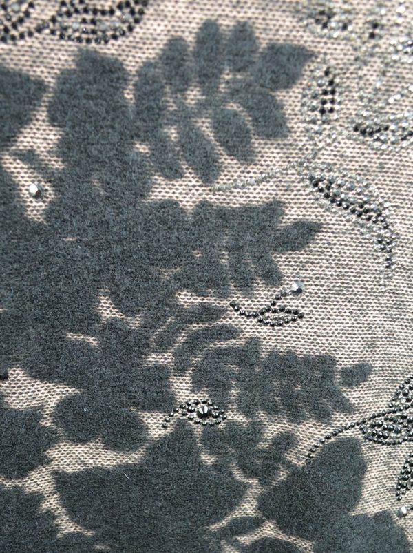 Туника VDP коричневая шерстяная с цветочным принтом из шерсти и камней