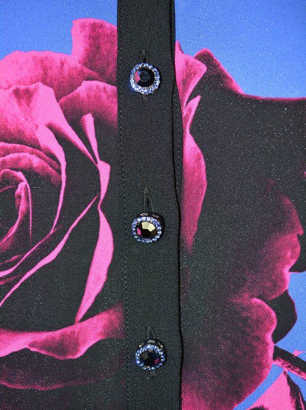 Туника VDP с цветочным принтом и декоративными пуговицами по линии низа абстракция с камнями