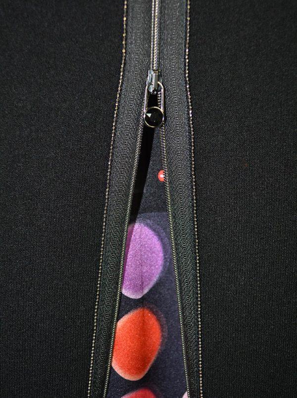 Туника VDP темно-серая с карманами сзади вставка шелк с принтом