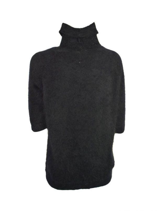 Водолазка VDP черная с принтом и камнями комбинированная шелк с ангорой