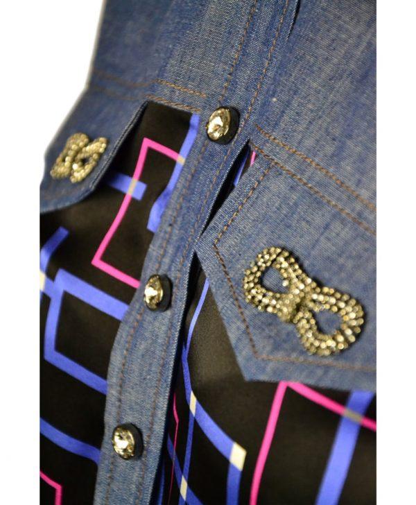 Туника VDP шелковая с джинсовыми вставками