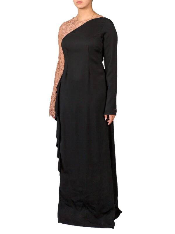 Платье VDP черное комбинированное гипюром с люрексом
