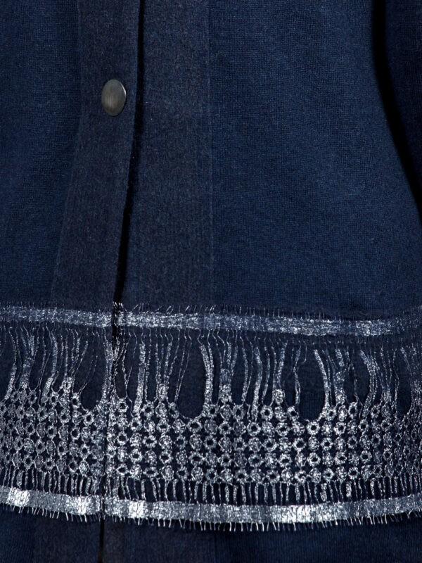 Туника D. Exterior синяя трикотажная по линии низа вставка шитье с серебряной ниткой