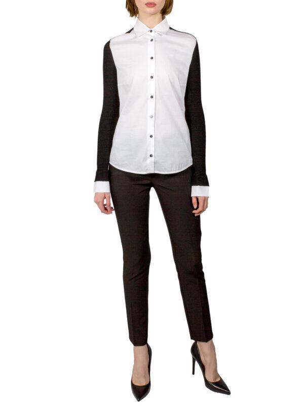 Рубашка D. Exterior  белая на пуговицах с черным трикотажным рукавом с белыми манжетами