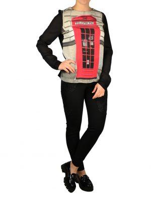 Блуза Moschino черная с принтом и отдельным воротником на завязке