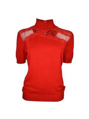 Водолазка Leo Guy красная комбинированная сеткой гипюром и кружевной вышивкой