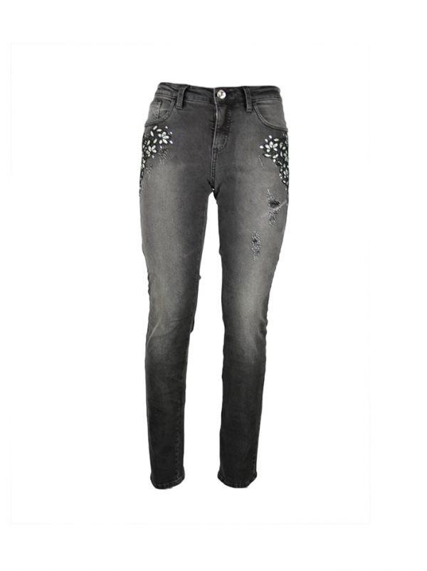 Джинсы Petite Couture серые с серебряной вышивкой и камнями