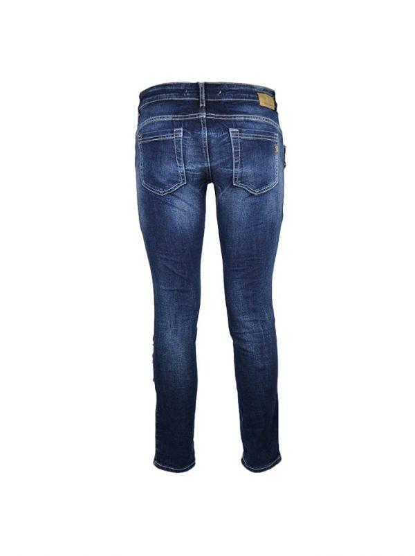 Джинсы Rossodisera темно-синие с кожаными элементами булавками и клепками
