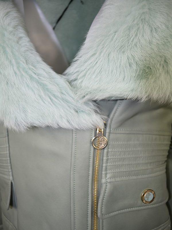 Дубленка Versace зеленая кожаная с мехом