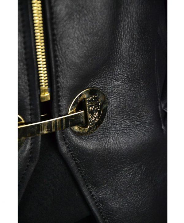 Дубленка Versace черная кожаная